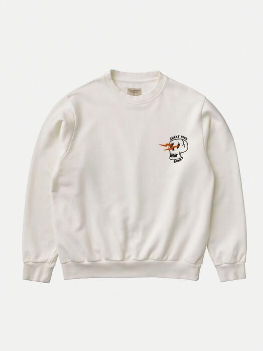 nudie Jeans Sweatshirts Lasse Shake Your Bones [chalk white] M jetzt im Onlineshop von zündstoff bestellen