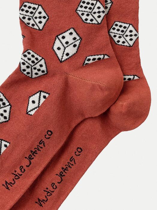 nudie Jeans Socken  Olsson Dices [poppy red] One Size jetzt im Onlineshop von zündstoff bestellen