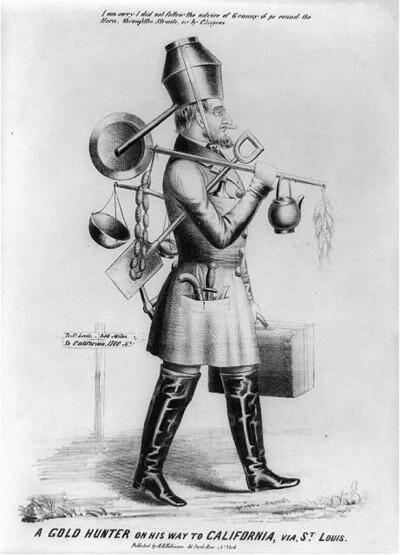 """A gold hunter on his way to California, via, St. Louis"". Zeitgenössische Karikatur aus der Library of Congress Prints and Photographs Division Washington, D.C. 20540 USA"