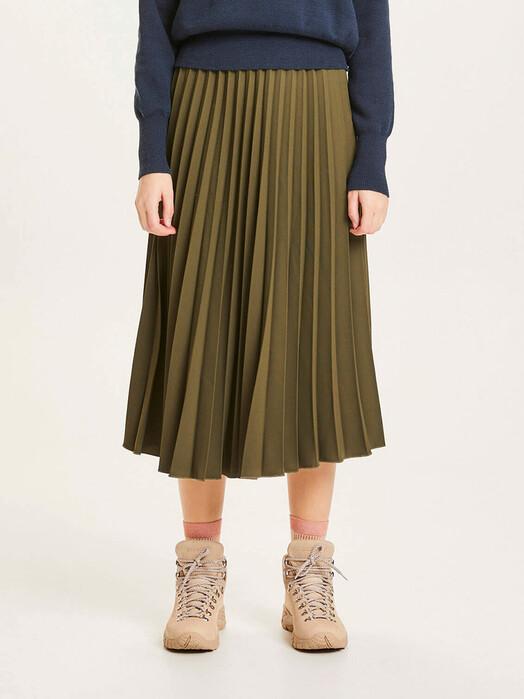 Knowledge Cotton Apparel  Röcke Daffodil Pleated Midi-Skirt [forrest night] jetzt im Onlineshop von zündstoff bestellen