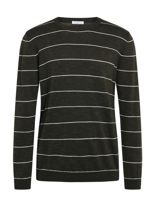 Knowledge Cotton Apparel  Strickpullover Forrest O-Neck Striped Knit [forrest night] jetzt im Onlineshop von zündstoff bestellen