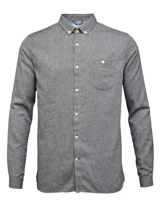 Knowledge Cotton Apparel  Hemden & Polos Elder Flannel Shirt [dark grey melange] jetzt im Onlineshop von zündstoff bestellen