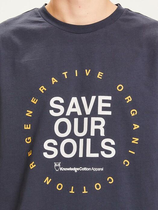 Knowledge Cotton Apparel  T-Shirts Alder Save Our Soil Tee [total eclipse] jetzt im Onlineshop von zündstoff bestellen