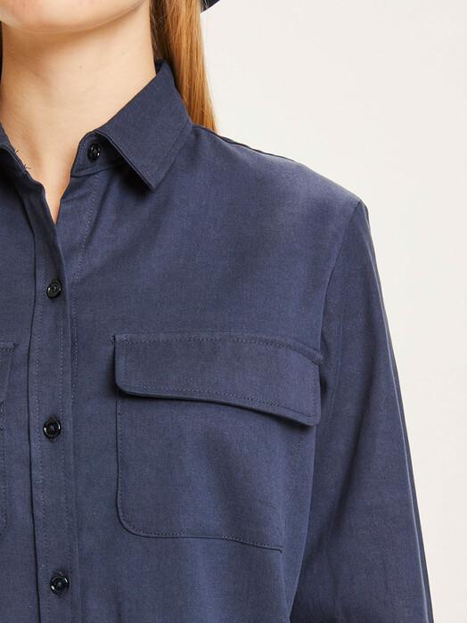 Knowledge Cotton Apparel  Blusen Juniper Patch Pocket Shirt [total eclipse] jetzt im Onlineshop von zündstoff bestellen