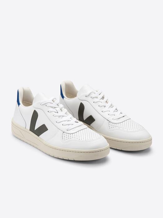 Veja Schuhe V-10 Leather [extra-white kaki indigo] jetzt im Onlineshop von zündstoff bestellen
