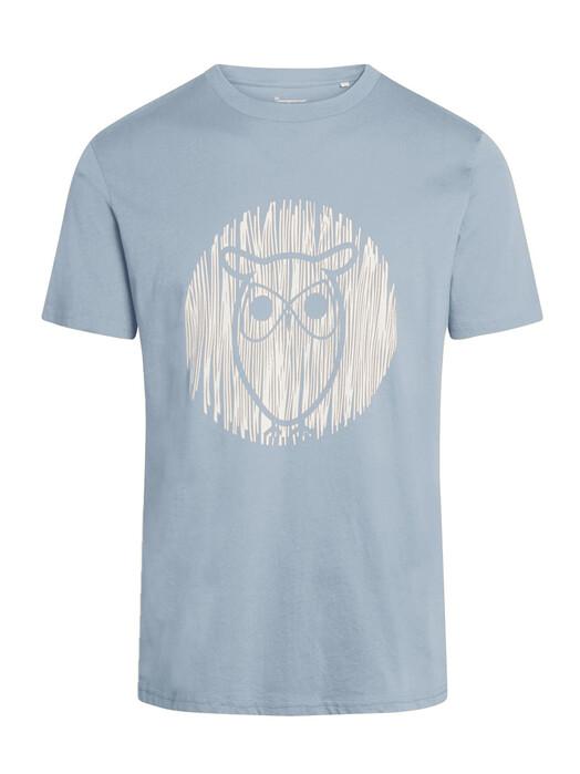 Knowledge Cotton Apparel  T-Shirts Alder Outline Owl Tee [asley blue] XL jetzt im Onlineshop von zündstoff bestellen