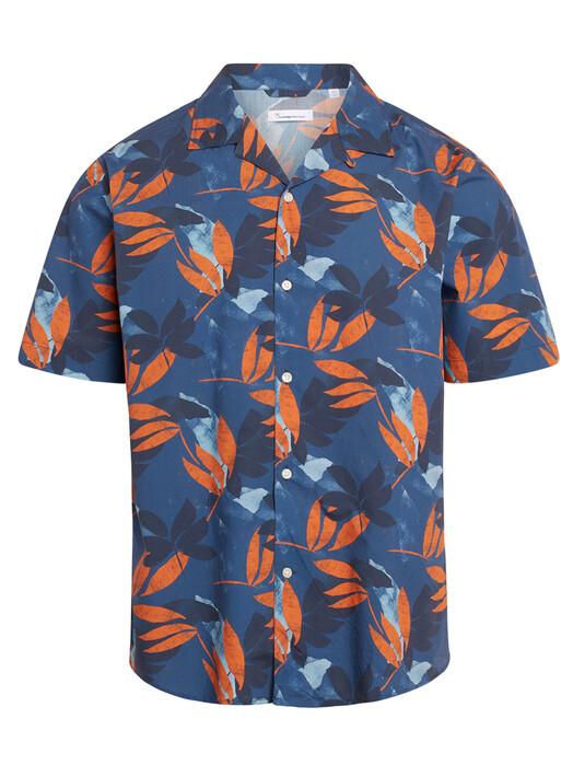 Knowledge Cotton Apparel  Hemden & Polos Wave Flower Print Shirt [dark denim] jetzt im Onlineshop von zündstoff bestellen