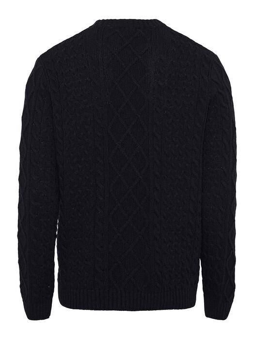 Knowledge Cotton Apparel  Strickpullover Valley Wool Cable Knit [total eclipse] S jetzt im Onlineshop von zündstoff bestellen