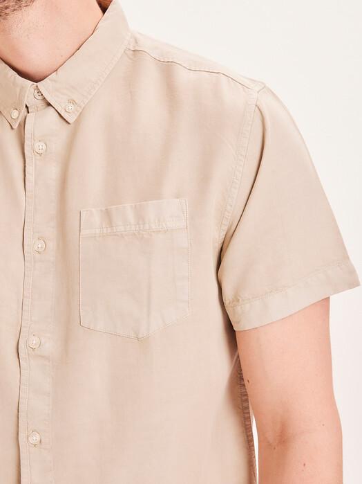 Knowledge Cotton Apparel  Hemden & Polos Larch Garment Dyed Shortsleeve Shirt [light feather gray] jetzt im Onlineshop von zündstoff bestellen