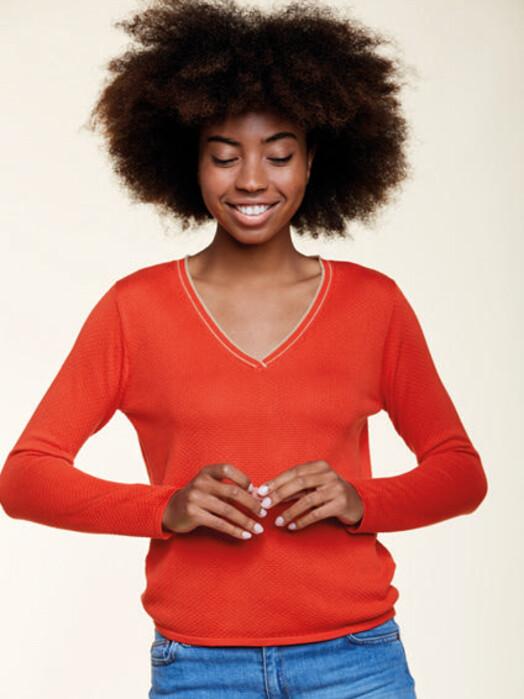 Les Racines du Ciel Strickpullover & Cardigans Bubble V-Neck Sweater [red/beige] jetzt im Onlineshop von zündstoff bestellen