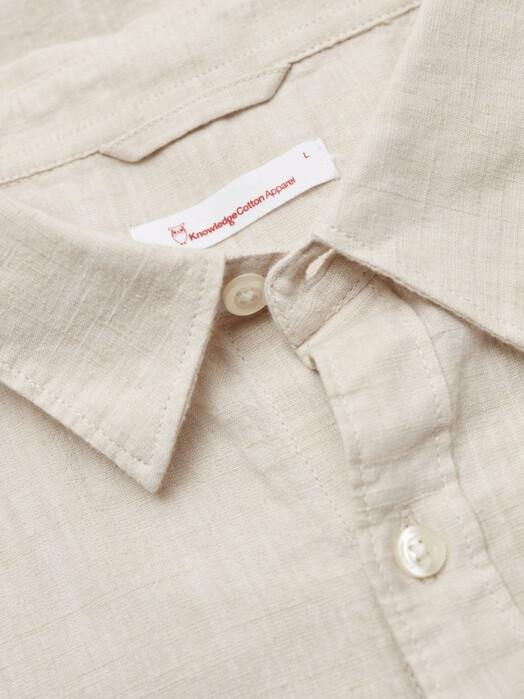 Knowledge Cotton Apparel  Hemden & Polos Larch Short Linen Shirt [light feather gray] jetzt im Onlineshop von zündstoff bestellen