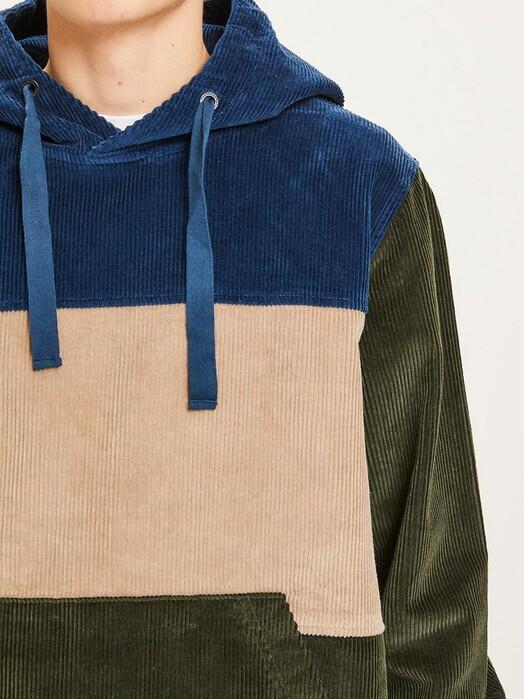 Knowledge Cotton Apparel  Hoodies Elm Colorblock Corduroy Hood [forrest night] jetzt im Onlineshop von zündstoff bestellen