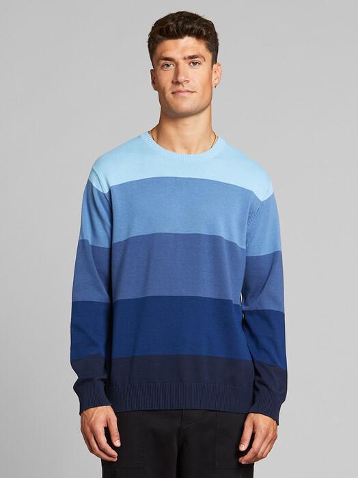 Dedicated Strickpullover Mora Stripe [blue] jetzt im Onlineshop von zündstoff bestellen