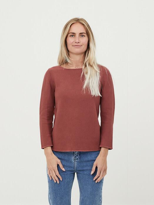 Knowledge Cotton Apparel  Strickpullover & Cardigans Myrthe Crew Neck Knit [marsala] jetzt im Onlineshop von zündstoff bestellen