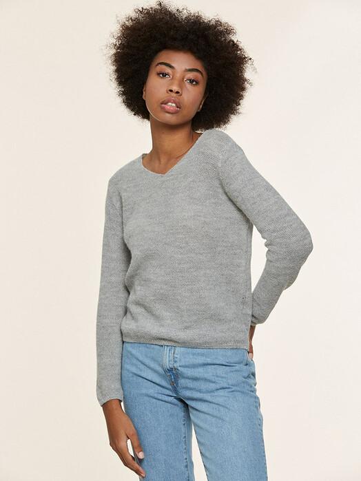 Les Racines du Ciel Strickpullover & Cardigans Glaz V-Neck Sweater [light grey] jetzt im Onlineshop von zündstoff bestellen