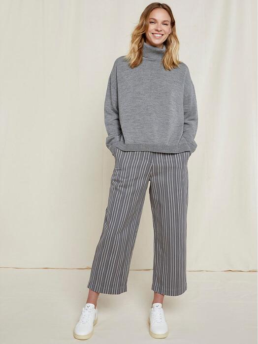 People Tree  Hosen Emerson Striped Trousers [grey] jetzt im Onlineshop von zündstoff bestellen