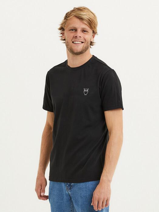 Knowledge Cotton Apparel  T-Shirts Alder Owl Chest Tee [black jet] jetzt im Onlineshop von zündstoff bestellen