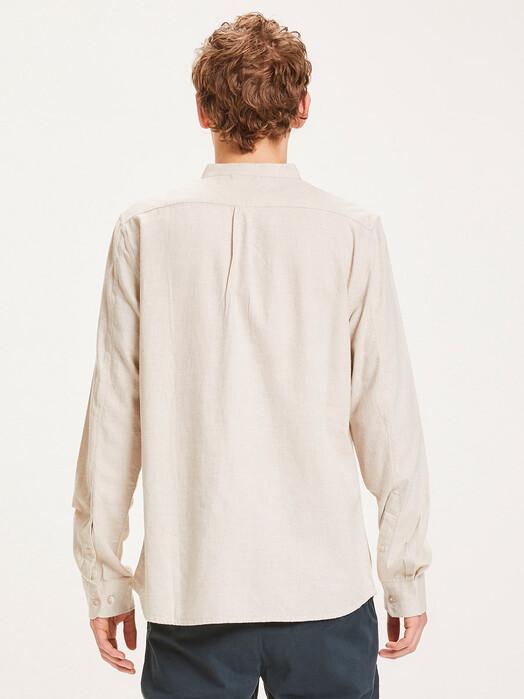 Knowledge Cotton Apparel  Hemden & Polos Elder Flannel Stand Collar Shirt [greige] jetzt im Onlineshop von zündstoff bestellen