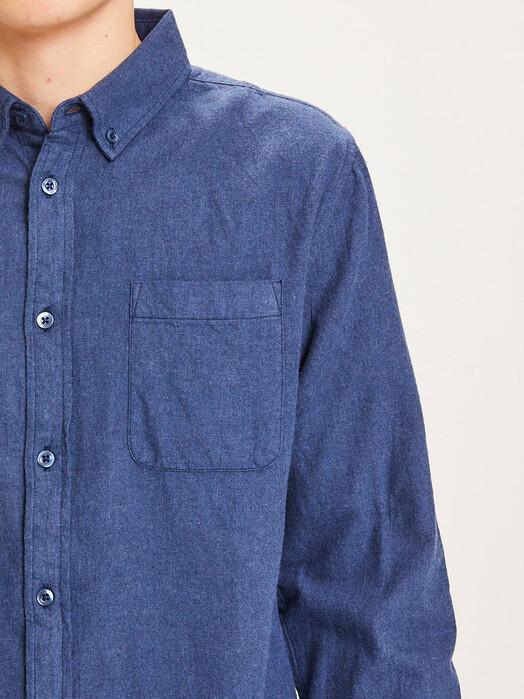 Knowledge Cotton Apparel  Hemden & Polos Elder Melange Flannel Shirt [estate blue] jetzt im Onlineshop von zündstoff bestellen