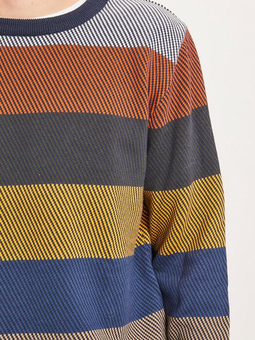 Knowledge Cotton Apparel  Strickpullover Field O-Neck Diagonal Knit [total eclipse] jetzt im Onlineshop von zündstoff bestellen