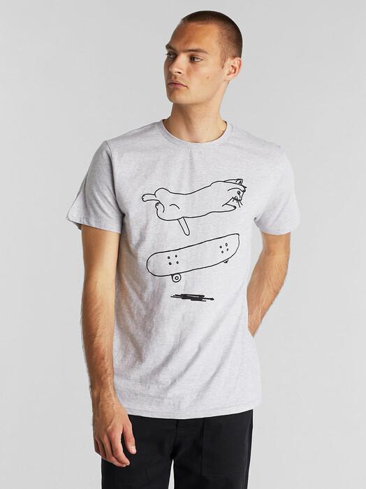 Dedicated T-Shirts Stockholm Cat Flip [grey melange] jetzt im Onlineshop von zündstoff bestellen