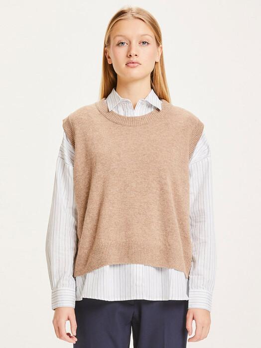 Knowledge Cotton Apparel  Strickpullover & Cardigans Myrthe Lambswool Vest [kelp melange] jetzt im Onlineshop von zündstoff bestellen