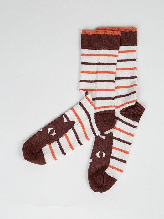 People Tree  Socken  Cat Striped Socks [brown] 35-38 jetzt im Onlineshop von zündstoff bestellen