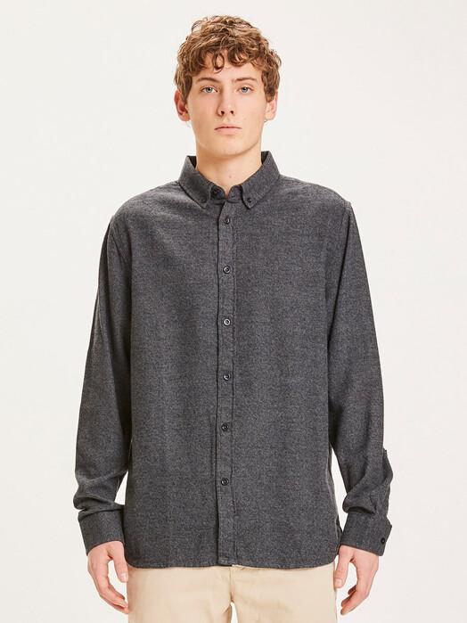 Knowledge Cotton Apparel  Hemden & Polos Larch Flannel Shirt [dark grey melange] jetzt im Onlineshop von zündstoff bestellen